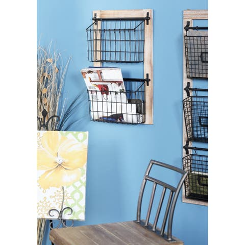 Farmhouse 2-Tiered Square Iron Basket Wall Rack by Studio 350