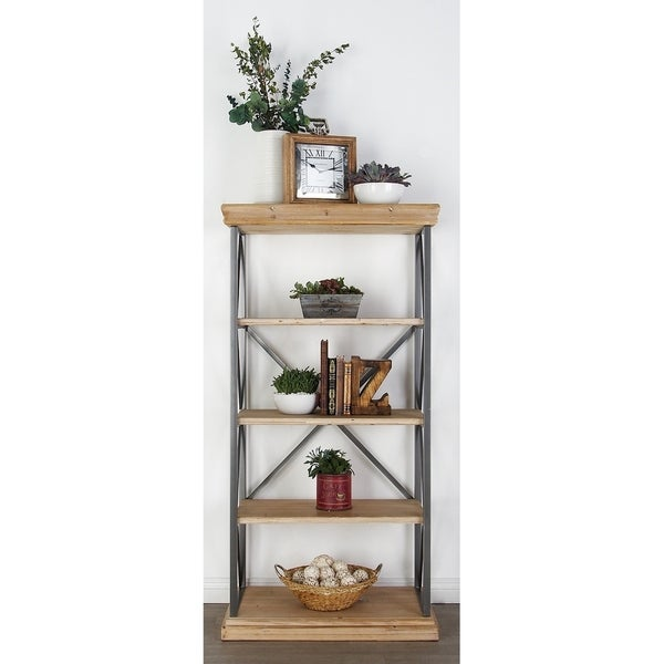 Modern 60 x 30 Inch Fir Wood and Iron 4-Tier Shelf by Studio 350