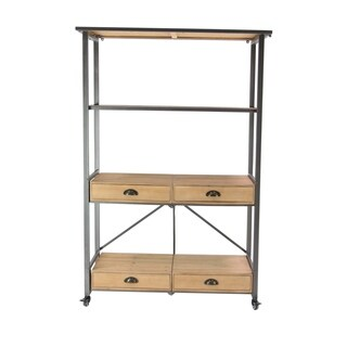 Modern Wood and Iron Storage Shelf with Drawers