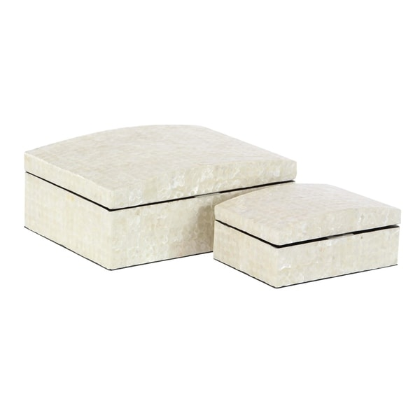 Set of 2 Natural Wood and Shell Decorative Boxes with Domed Lid - Off-white