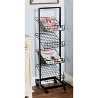 Industrial 4-Tier Black Iron Rack with Wheels by Studio 350