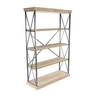 72 inch Modern Fir Wood and Iron 4-Tier Shelf
