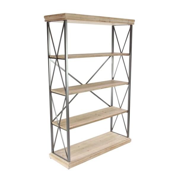 72 inch Modern Fir Wood and Iron 4-Tier Shelf