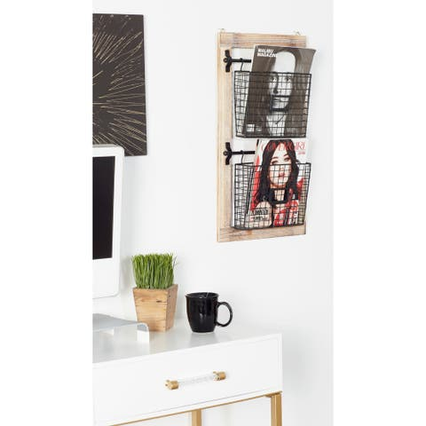 Farmhouse 2-Tiered Wood and Iron Basket Wall Rack by Studio 350
