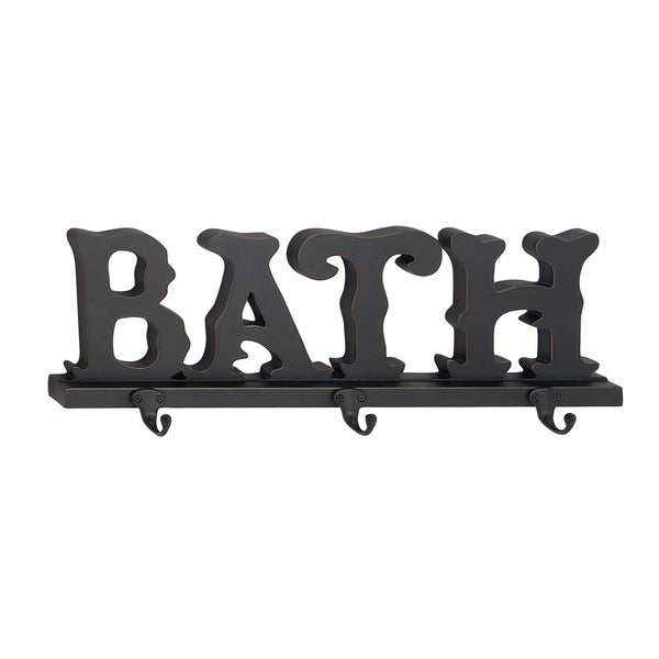 Traditional Wood And Metal Bath Wall Hook Rack With 3 Hooks