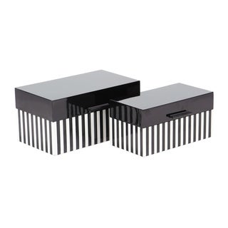 Set of 2 Modern Black and White Striped Wooden Boxes with Lid