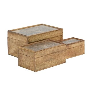 Set of 3 Rustic Abundant Tree Mango Wood Storage Boxes