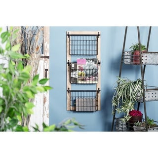 Industrial Wood and Iron 3-Tier Basket Wall Rack