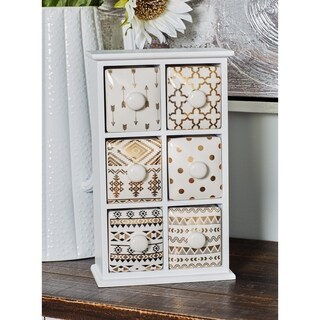 Modern 6-Drawer Wood and Ceramic Jewelry Storage Chest