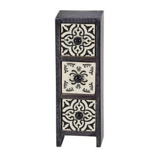 Rectangular Black Lattice-Patterned 3-Drawer Ceramic Jewelry Box