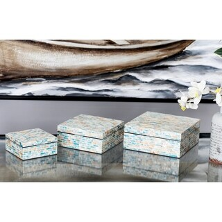 Set of 3 Natural Wood and Shell Multicolored Decorative Boxes with Lid