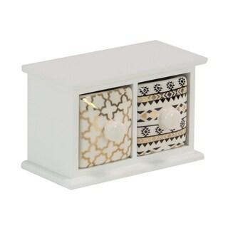 Modern 2-Drawer Wood and Ceramic Jewelry Storage Chest