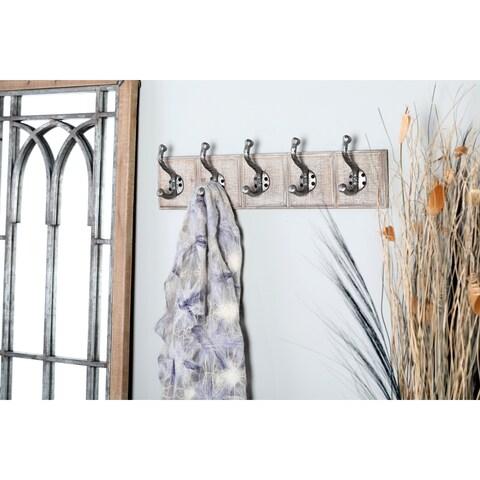 Traditional 5 Fixed Wood and Iron Rectangular Whitewashed Wall Hooks