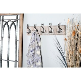 Traditional 5 Fixed Wood and Iron Rectangular Whitewashed Wall Hooks