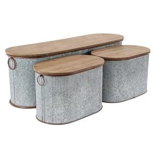 Set of 3 Iron and Wood Corrugated Oval Storage Boxes