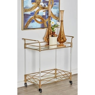 Modern 2-Tiered Iron and Acrylic Storage and Bar Cart