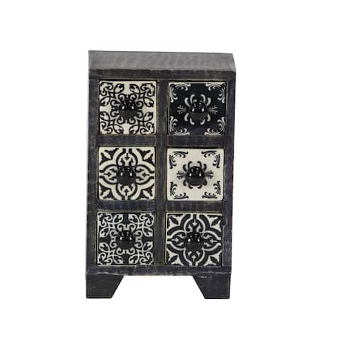 Traditional Rectangular Lattice-Patterned 6-Drawer Ceramic Jewelry Box