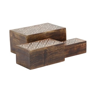Set of 3 Rustic Carved Ornate Mango Wood Storage Boxes