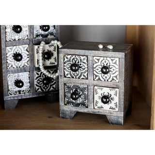 Square Black Lattice-Patterned 4-Drawer Ceramic Jewelry Box