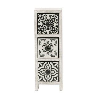 Traditional Rectangular White Latticed 3-Drawer Ceramic Jewelry Box