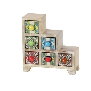 Traditional Staircase Multicolor Latticed 6-Drawer Ceramic Jewelry Box