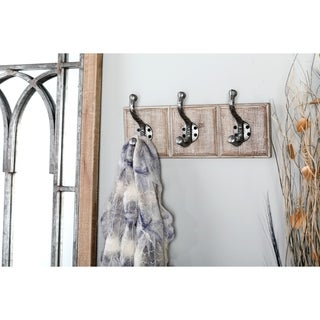 Farmhouse 6 x 14 Inch Distressed Wall Hook Rack by Studio 350