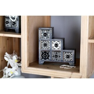 Traditional Staircase Black Latticed 6-Drawer Ceramic Jewelry Box