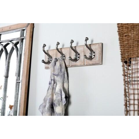 Traditional 4 Fixed Wood and Iron Rectangular Whitewashed Wall Hooks