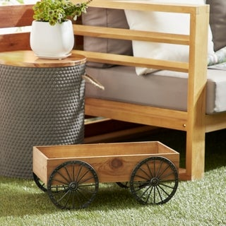 Traditional Wood and Iron Brown Wagon Flower Cart