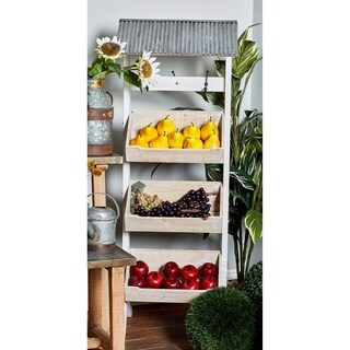 Traditional 3-Tiered Roofed Wooden Display Rack with Metal Hooks