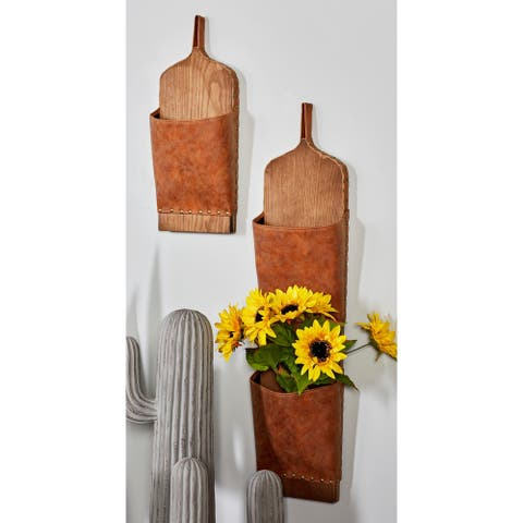 Set of 3 Traditional Leather and Wood Brown Mail Holders