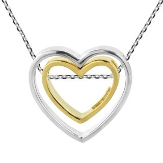 Handmade Amazing 2 Hearts In 1 Sterling Silver Gold Slide Necklace Thailand