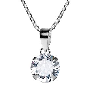 Handmade Sparkle 8mm Round CZ Solitaire Sterling Silver Necklace (Thailand)