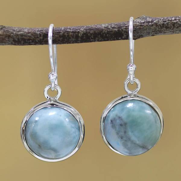 Handmade Sterling Silver X27 Neptune Larimar Earrings