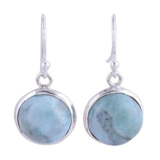 Handmade Sterling Silver 'Neptune' Larimar Earrings (India)