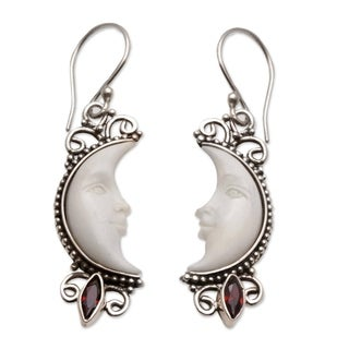 Handmade Sterling Silver Natural Moonlight Garnet Earrings (Indonesia)