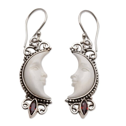 Handmade Sterling Silver Cow Bone 'Natural Moonlight' Garnet Earrings (Indonesia)