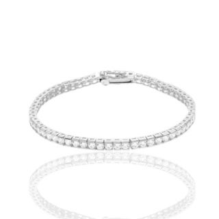 Sterling Silver Cubic Zirconia Tennis Bracelet - White