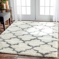 nuLoom Ivory Trellis Moroccan-style Berber Shag Rug (8' x 10' )