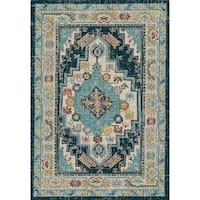 Zodaic Beige/Blue Oriental Area Rug - 7.10x10.10