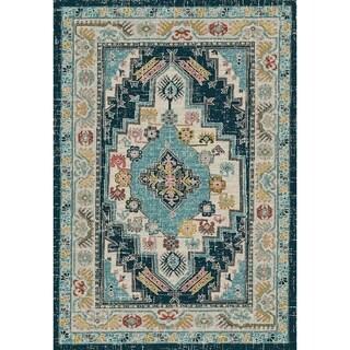 Dynamic Rugs Zodiac Beige/Blue Oriental Area Rug (7'10 x 10'10)
