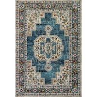 Zodiac Oriental Blue/Multi Area Rug - 5'3 x 7'7