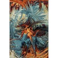 Zodiac Blue/Multi Abstract Area Rug - 7'10 x 10'10