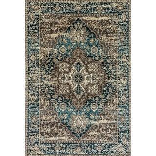 Zodiac Grey/Blue Oriental Area Rug - 7'10 x 10'10