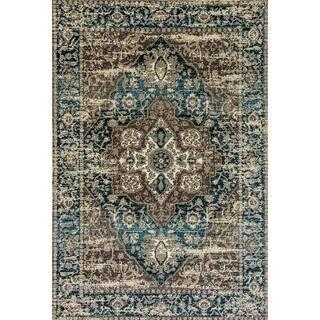 Zodiac Grey Blue Oriental Area Rug 7 10 X