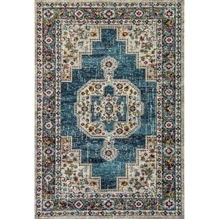 Zodiac Oriental Blue/Multi Area Rug - 7'10 x 10'10