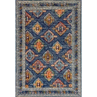 Zodiac Blue/Orange Ikat Area Rug - 7.10x10.10