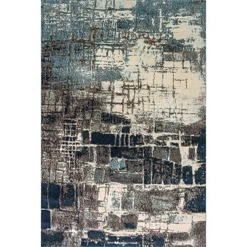 Zodiac Abstract Grey/Blue Area Rug - 5.3x7.7