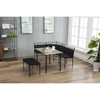 Gareth Black Upholstered Metal Breakfast Nook Set