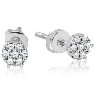 Bliss 10k White Gold 1/4 ct TDW Diamond Screw Back Cluster Studs